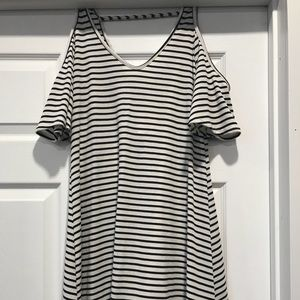 Striped Shoulderless Dress